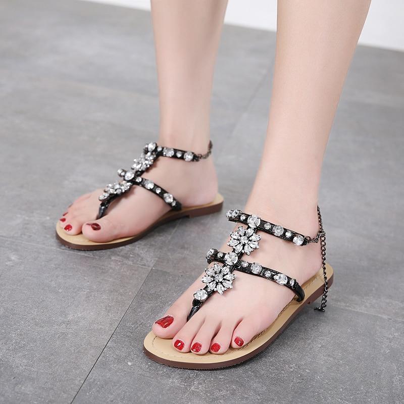 HTB1PkdVgTqWBKNjSZFAq6ynSpXaH 6 Color Woman Sandals Women Shoes Rhinestones Chains Thong Gladiator Flat Sandals Crystal Chaussure Plus Size 46 tenis feminino