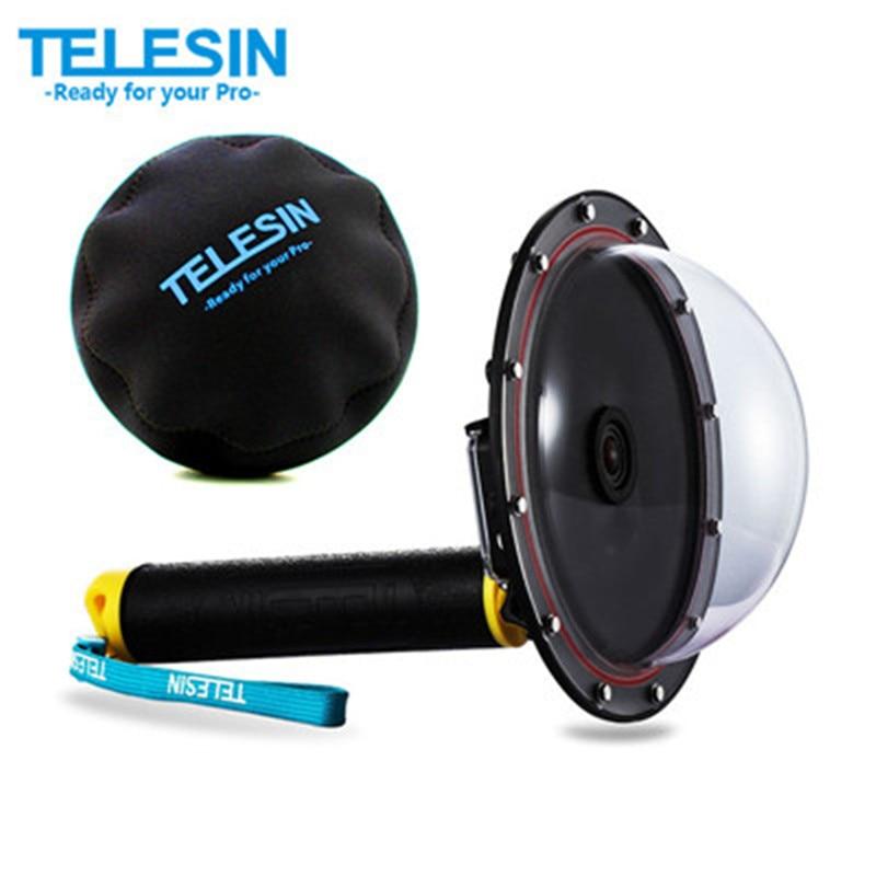"TELESIN 6 ""돔 포트 Go Pro 4 3 방수 케이스 플로팅 트리거 돔 GoPro Hero 4 3 3+ 돔 커버 하우징 액세서리"