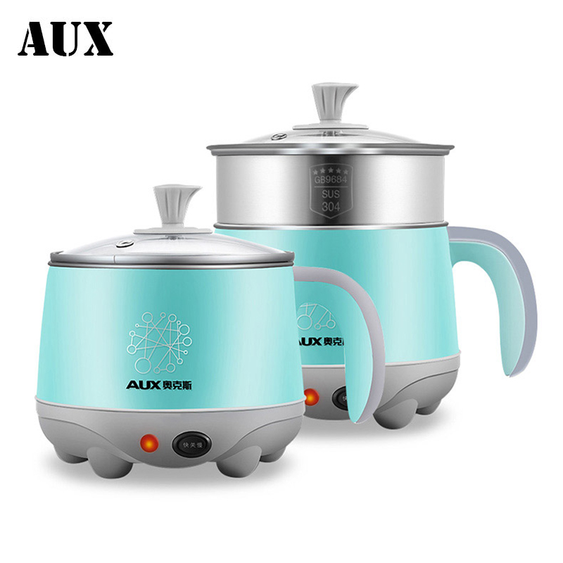 AUX Mini Student Electric Hot Pot Multicookings Travel Cooker Lunch Box Noodle Cooker 600W Multi Cookers Egg Boilers Multicooker