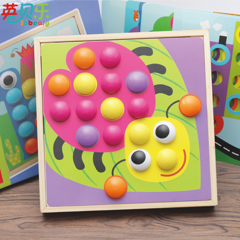 10Pcs/set Mushroom Nail 3D Kids Wooden Puzzle Cartoon Animal Shaped Intelligent Creative Games Children Education Toys DIY Gifts