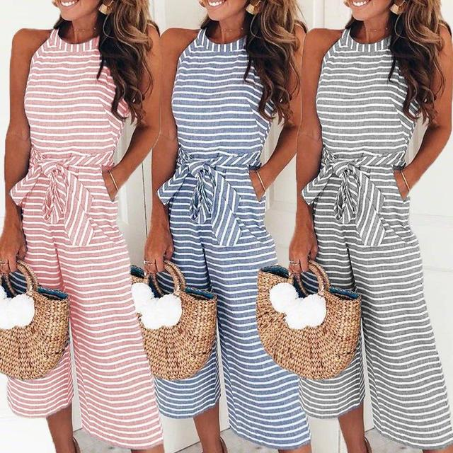 8bb69193b956 Elegant Sexy Jumpsuits Women Sleeveless Striped Jumpsuit Loose Trousers  Wide Leg Pants Rompers Holiday Belted Leotard Overalls