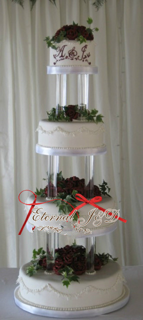 Acrylic 4 Tiers Cake Stand Wedding Centerpiece Wedding Crystal Cake
