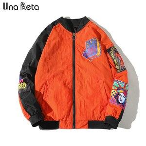 Image 3 - Una Reta Jackets Mens New Hip Hop Brand Thin Tracksuit Coat Fashion Casual Streetwear Man Pattern Stitching Baseball Jacket