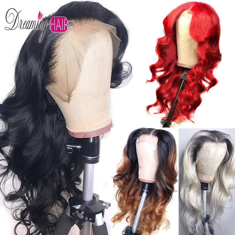 1B/27 Lace Front Human Hair Wigs With Baby Hair Wavy Pre Plucked Ombre Color Brazilian Remy Hair Wigs For Women Bleach Knots
