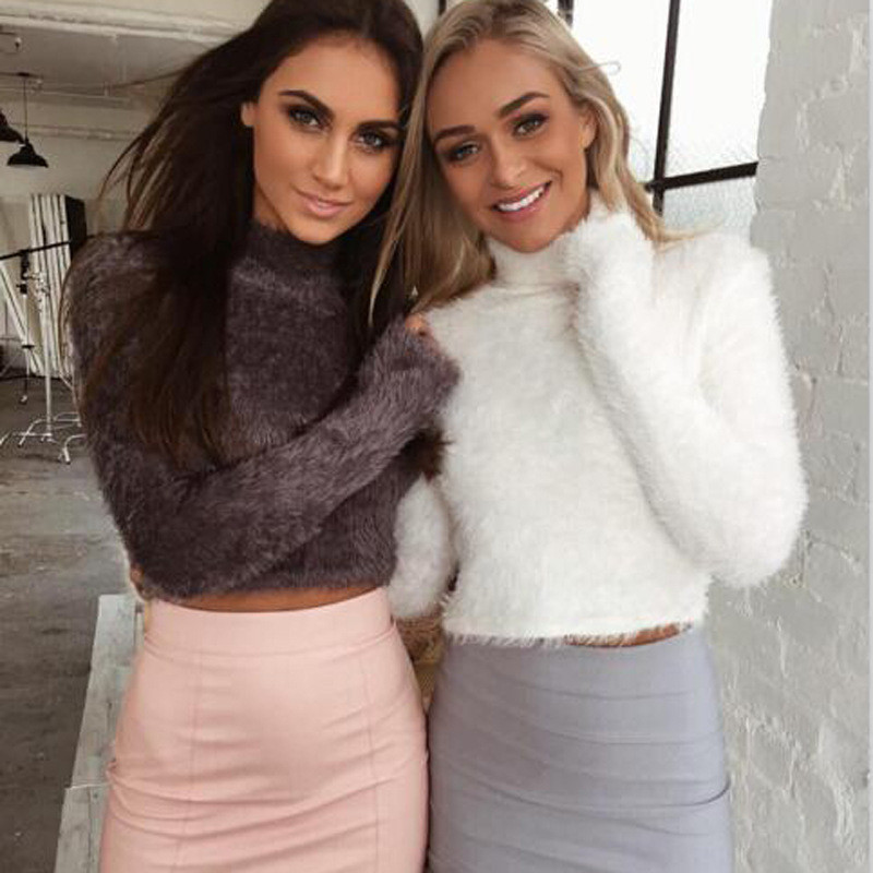 Sexy Christmas Party Sweaters Short Crop Tops Pullover Knitted Long Sleeve Turtleneck Autumn Winter Sweater