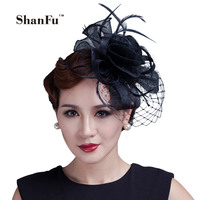 ShanFu Women Flower Fancy Feather Fascinators Handmade Sinamay Fascinator with Veil Women Hair Accessories Black Red C12171