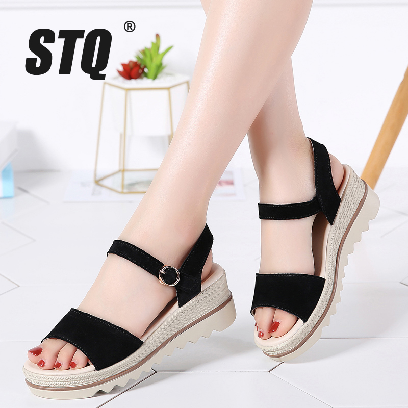 STQ Platform Sandals Summer Shoes Heel Flat Thick Women Ladies Wedges 575 Suede