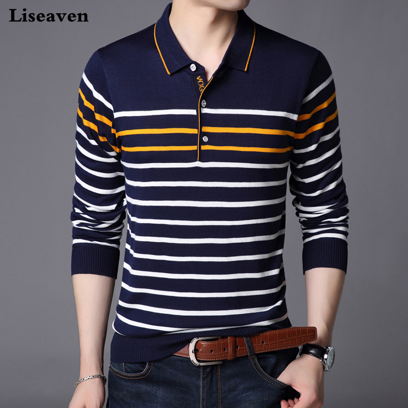 Liseaven Men   Polo   Shirt Long Sleeve Striped   Polos   Slim Fit Male Shirt Camisas Cotton Tees Tops