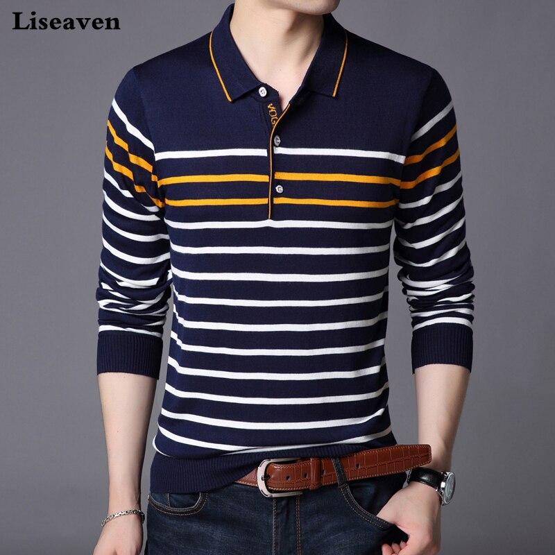 1616208128f Liseaven hombres Polo camisa de manga larga a rayas Polos Slim Fit camisa  masculina camisetas de algodón Tops - a.dupa.me