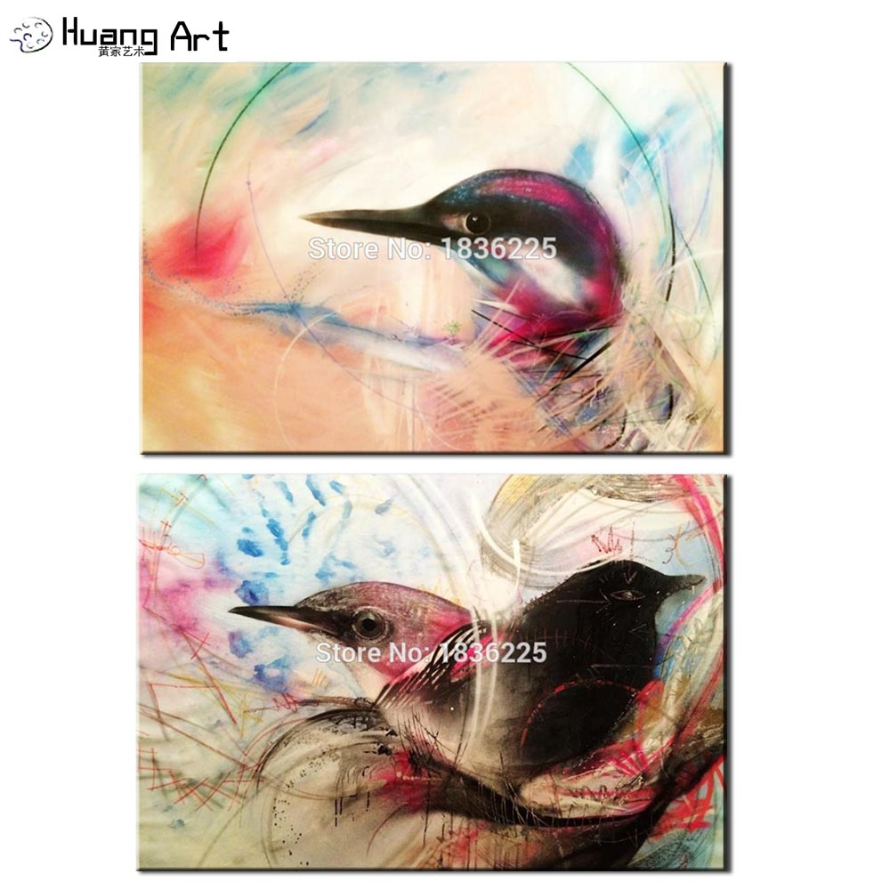 Peinture à l'huile colorée d'oiseau de haute qualité sur l'art de mur de toile pour le salon ou la décoration d'hôtel tête de paon d'animal de colibri