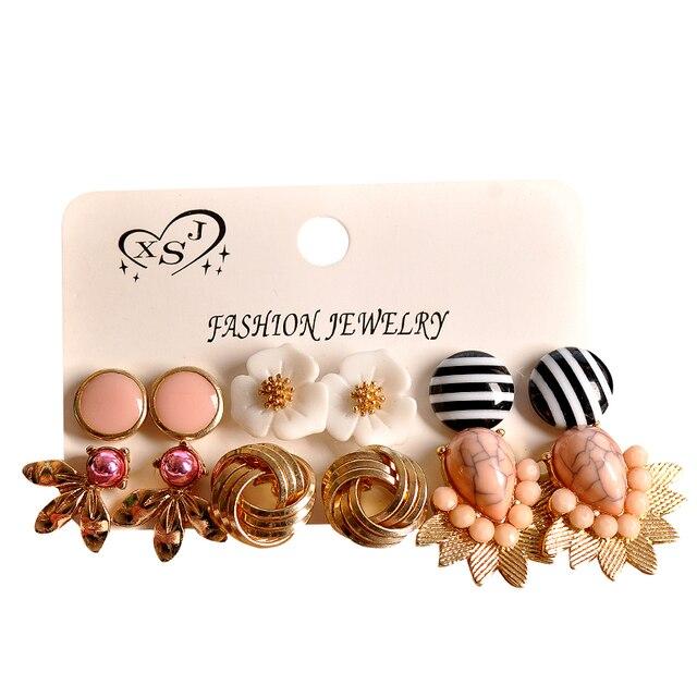 Brincos femininos dourados, joias rosa com formatos florais misturados 6 pares/set presentes 3