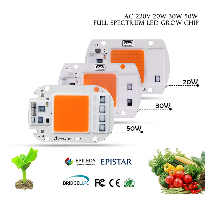 2pcs Hydroponice AC 220V 20W 30W 50W LED Grow Light Chip Full Spectrum 380nm-840nm For Indoor LED Grow Light Plant