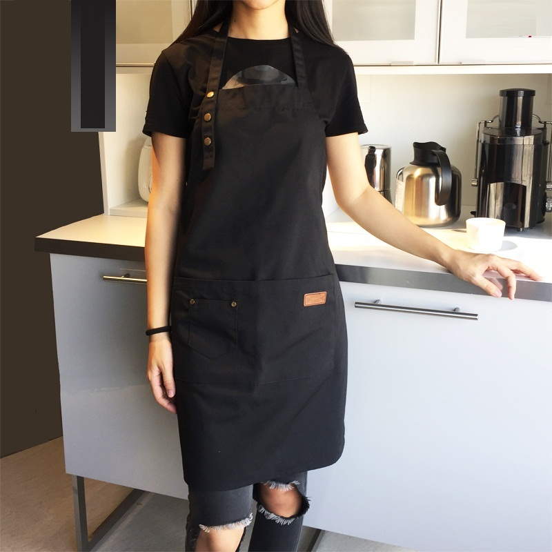 New Fashion Canvas Cotton Apron Coffee Shop And Barber Working Apron Bib Cooking Kitchen Aprons For Woman Man Apron Custom Logo