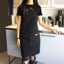 2018 fashion canvas cotton apron coffee shop and hairdresser Sleeveless work apron bib cooking work clothing antifouling aprons(China)