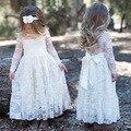 Cordón de la muchacha Vestido Largo Con Flores Para la Edad 3-8 Bebé de Los Niños princesa Boda Vestido de Fiesta Blanco/Crema de Gran Arco de Manga Larga vestido