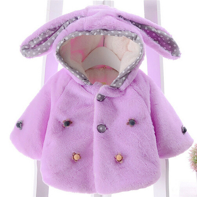 f89e5f3fe7b1 Baby Coat Winter Warm Coat Lovely Solid Fashion Kids Baby Girl Jackets Girls  Children Clothing Rabbit