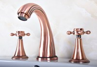 Antique Red Copper Brass Deck Mounted Widespread Bathroom Basin Faucet Sink 3 Holes Mixer Tap Dual Cross Handles Levers arg076