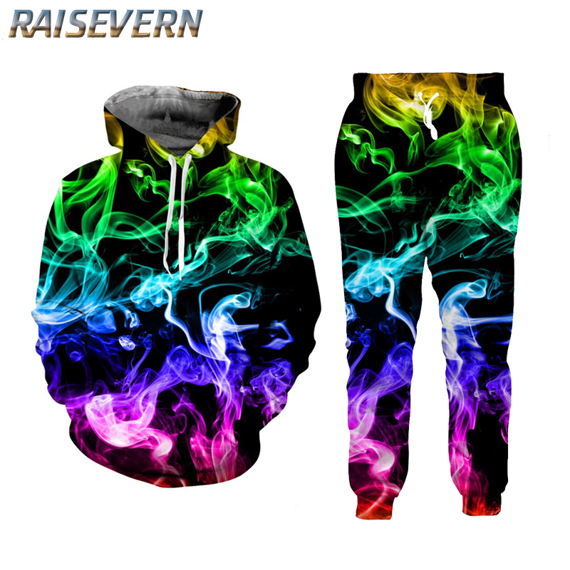 RAISEVERN 3D Colorful Smoke Hoodies Suits Men's Sweatshirt Joggers Funny Harajuku Print Set Fall Winter Unisex 3d Tracksuit Pant