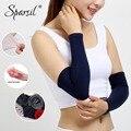 Sparsil masculino feminino aquecedores de braço de caxemira conjunta à prova de frio proteger luva 40cm elástico de malha longa cotovelo braço de pulso protetor