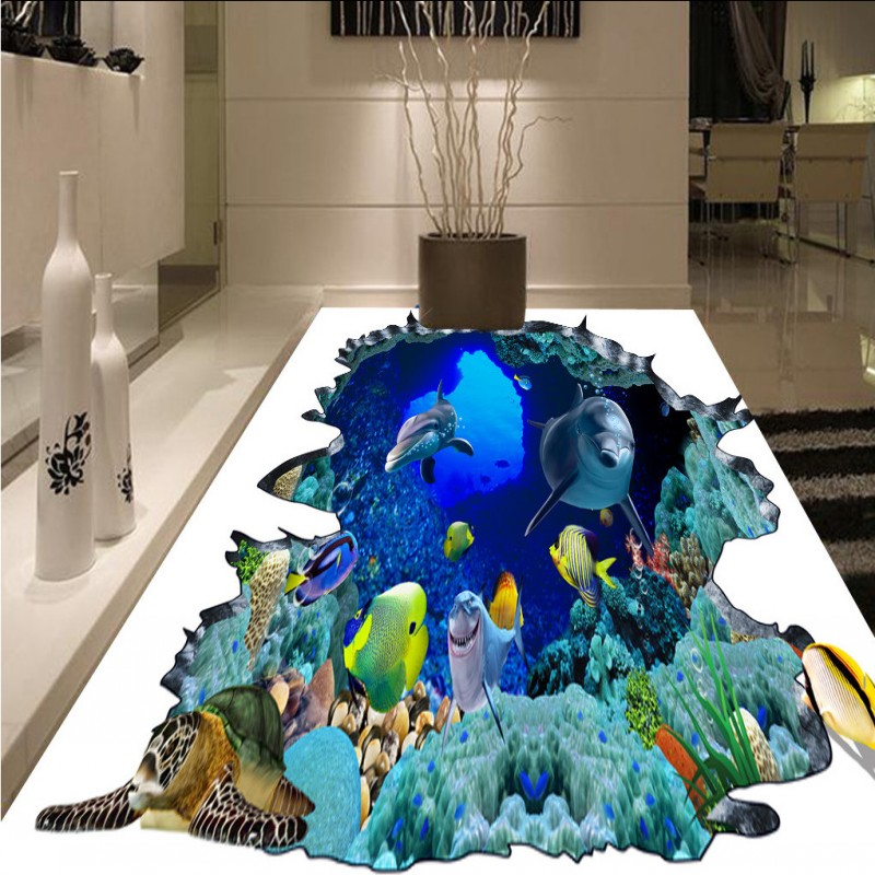 Free Shipping hotel living room lobby flooring painting Sea World self-adhesive floor wallpaper mural free shipping penguin dolphin 3d sea world flooring painting kitchen lobby restaurant floor wallpaper mural