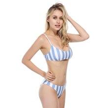 Bikinis 2019 Women Femme women Swimwear Sexy  blue stripes Swimsuit Bikini push-up padded swimsuit low waist beach swimear