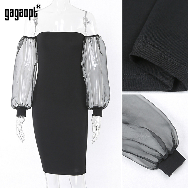 Gagaopt 2017 Summer Dresses Women Casual Solid Strapless Perspective Puff Sleeve Dresses Mini Robes Elegant Vestidos D2176B