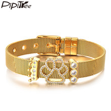 Pipitree Clear CZ Zircon Charm Crown Dog Paw Bracelet Stainless Steel Bracelets Mesh Bangles for Women Brand Jewelry Gift(China)