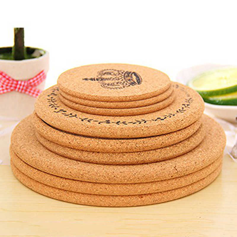 New Zakka Plain Round Cork Coaster Placemat Drink Cup Mat Tea Pad Wooden Tablemat Bowl Pad Pot Mat Heat Insulation
