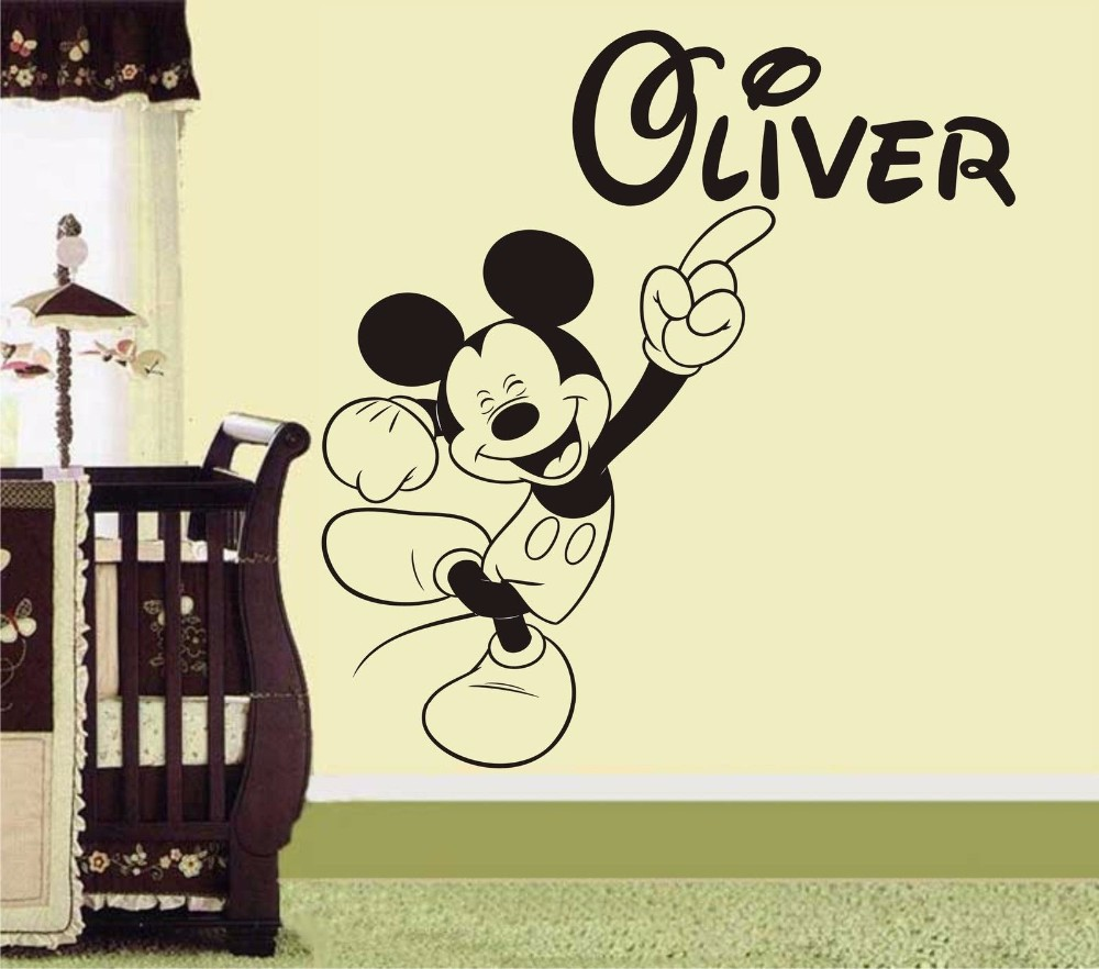 Mickey Mouse Personalised Name Wall Art Sticker Decoration Decals ...