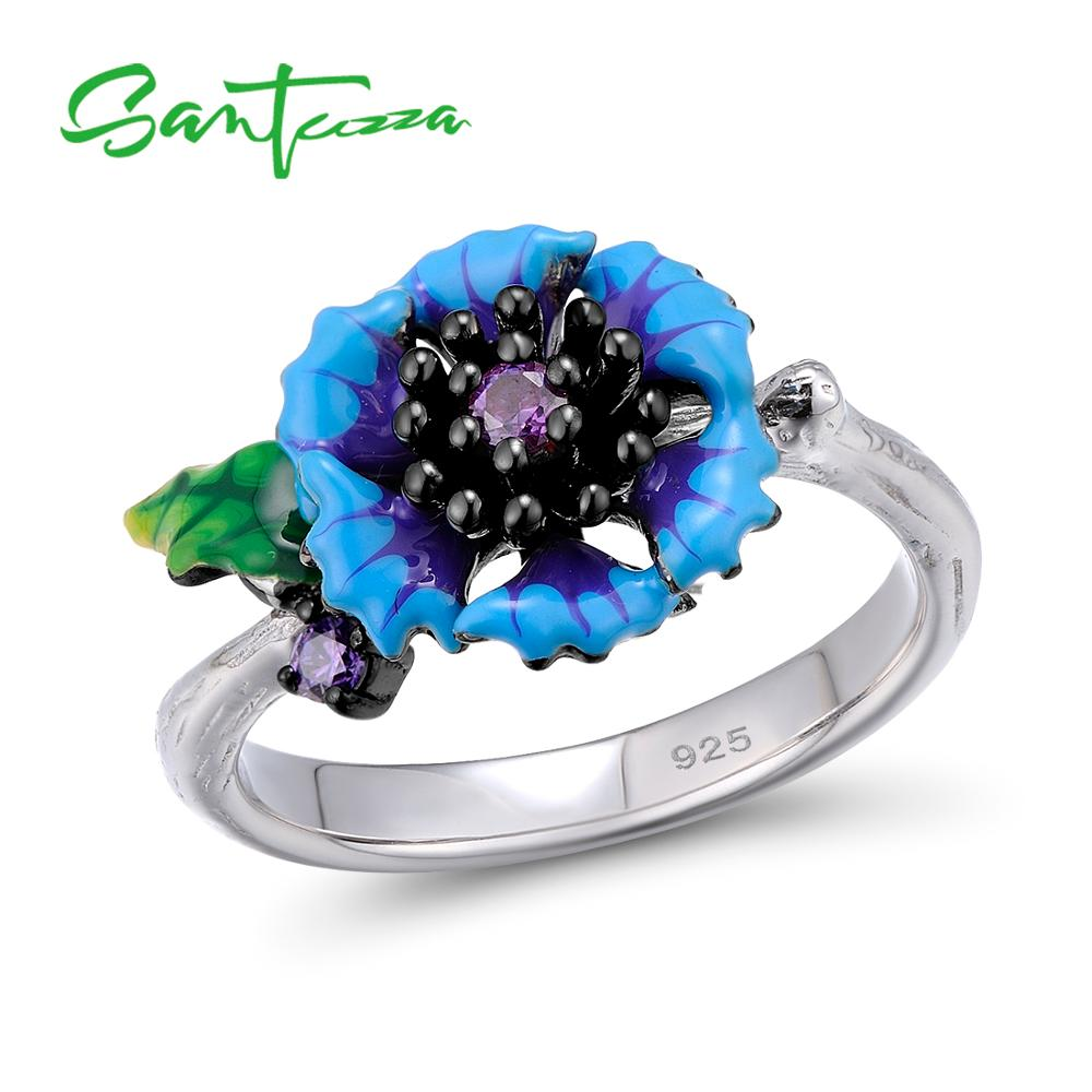 SANTUZZA Silver Ring For Women 925 Sterling Silver Fantastic Blue Daisy Flower Floral Ring Fashion Jewelry