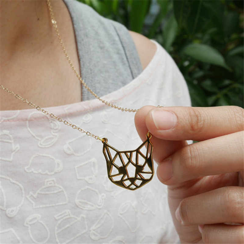 2017 Newest Fashion Origami Cat Face Necklace Outline Cat Head Face Necklaces Animal jewelry For Pets lovers