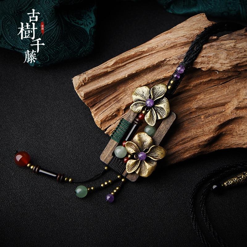Vintage Wooden Pendant Necklace for women Copper Flower Suspension Necklace Long Chain Ethnic Stone Maxi Necklace New Arrival