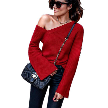 2019 Spring Autumn New Women Sexy Off Shoulder Solid Casual Loose Knitted Sweater Tops Long Sleeve Fashion Pullovers Female S-XL