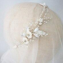 Простой Кристалл и цветок розы волос лоза свадебный головной убор цветок Свадебный ободок тиара антикварные серебряные аксессуары для волос