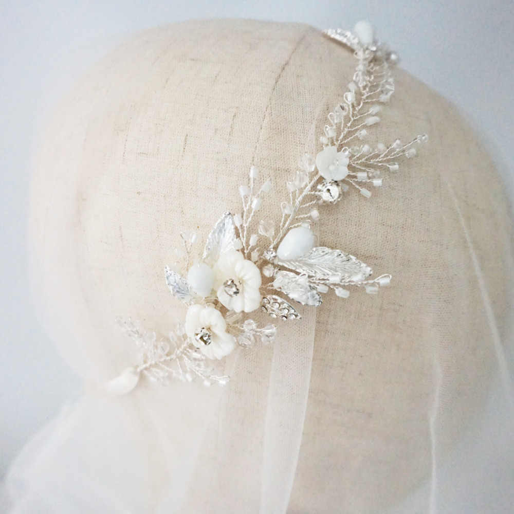 Simple Crystal And Rose Blossom Hair Vine Bridal Headpiece Flower Wedding Headband Tiara Antique Silver Hair Acessory