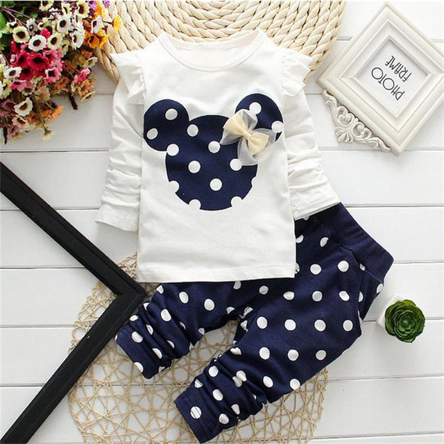 LILIGIRL Baby Girls Sport Clothes Sets 2019 Newborn Cotton Mickey T-Shirt+Polka Dot Pants Suit for Kids Tops Trousers Clothing 2