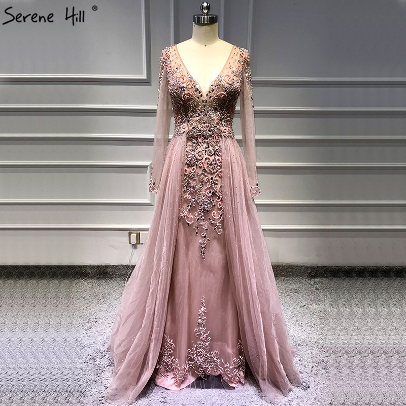 Pink Sexy V-Neck Long Sleeves Evening Dresses 2019 Diamond Beading With Train Evening Gown Serene Hill LA6571