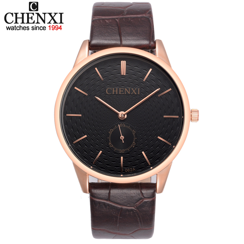 Ultra-thin Dial CHENXI Watch Men Quartz Watches Classic Brown leather strap Small dial can work Man Dress Fashion Wristwatch brown strap thin case branded design watches no name japan quartz machine