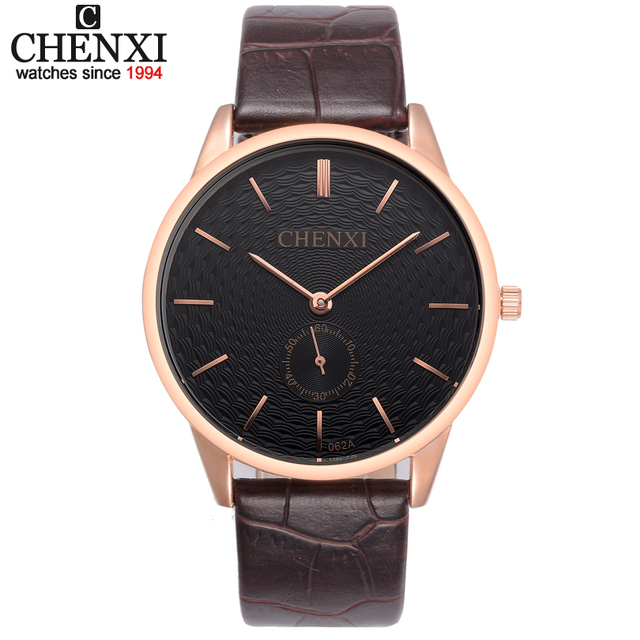 3d99a24a62b Ultra-thin Dial CHENXI Watch Men Quartz Watches Classic Brown leather strap  Small dial can