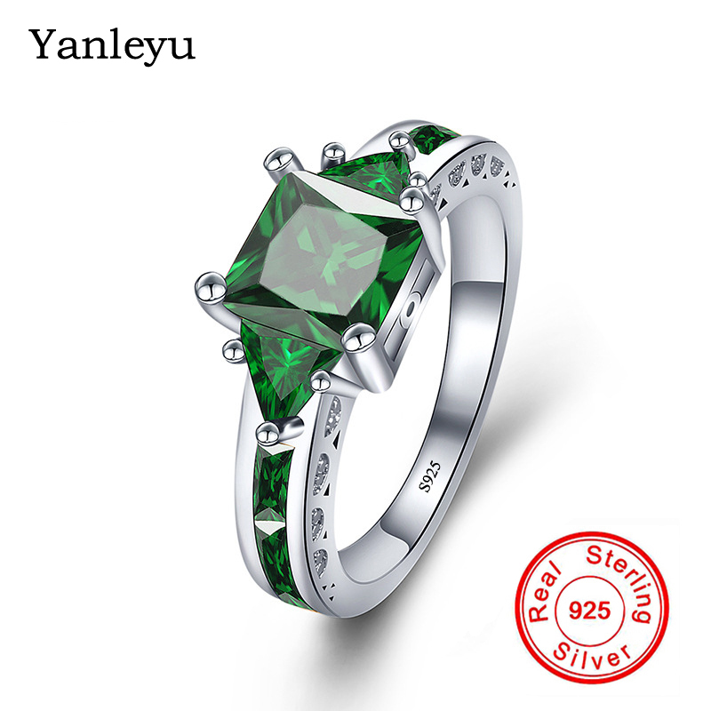 Yanleyu 100% 925 Sterling Silver Jewelry Ring Square Cut Green Cubic Zirconia Engagement Wedding Rings for Women Size 5-11 PR211