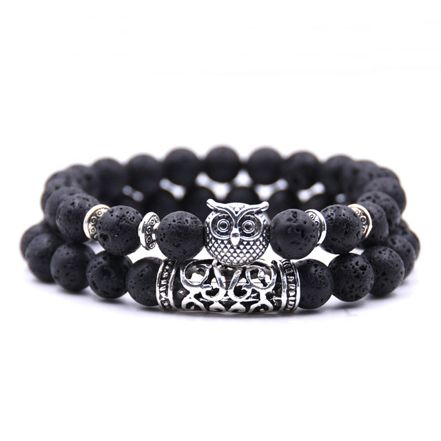 Natural stone animal owl  bracelets For Women Men Cool hot Selling 3