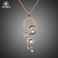 Rose Gold Plated Pure Clear Simply Small Round 1 Carat Cubic Zirconia Pendant Necklace FREE SHIPPING