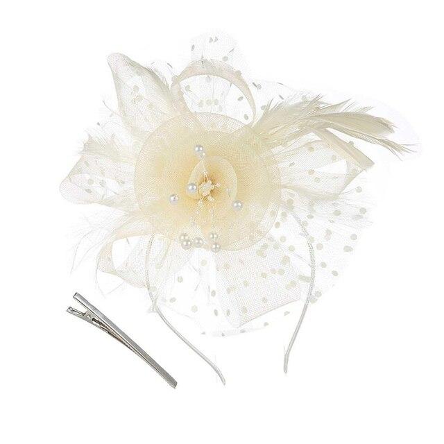 ポルカドットキャップ、花とフェザーベールキャップメッシュヘッドクリップさん帽子ヘアアクセサリー、ウェディングパーティー