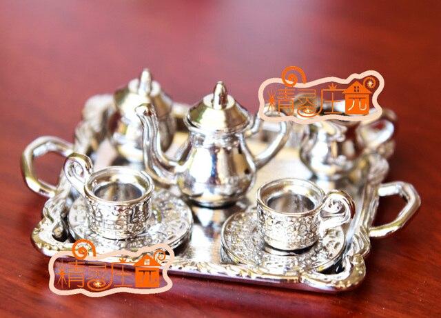 MINI Dollhouse Miniature Mini Silver Moon Metal Furniture Accessories For  Tea And Coffee Sets 8