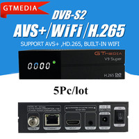 5 pçs/lote FREESAT Gtmedia V9 Super WI-FI Embutido AVS AVS Apoio + HD.265 Youtube Receptor de Satélite melhor V9 super TV caixa CCcam