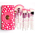 18 Pcs Maquiagem Escovas & Ferramentas, em lindo arco-Nó de Bolinhas Cor de Rosa