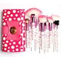 18 Unids Cepillos y Herramientas Del Maquillaje, en el magnífico arco-Nudo Polka Dot Pink