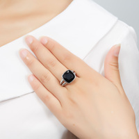 Hutang Cushion 12mm Natural Black Onyx Ring Solid 925 Sterling Silver Gemstone Fine Jewelry Twins Band Rings for Women 2017