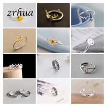 ZRHUA Original 925 Sterling Silver Rings For Women Trendy Fashion Mosaic CZ Zircon Resizable Open bague femme Creative Anillos(China)