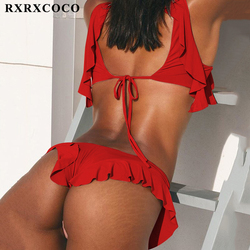 RXRXCOCO Newest Brazilian Bikini Set 2019 Sexy Off Shoulder Bikini Mujer Swimwear Women Swimsuit Halter Push Up Bathing Suits